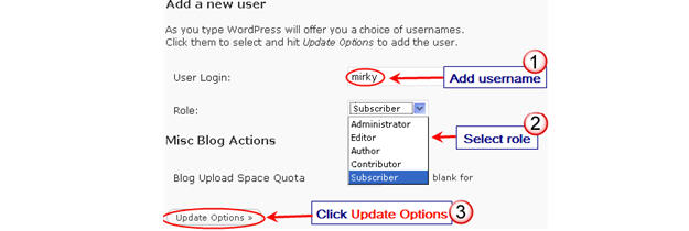 Image of adding a user to a blog