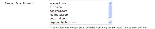 Image of banned email list