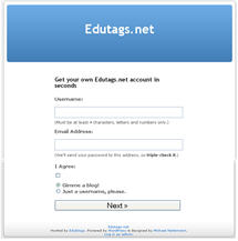 Image of signup page