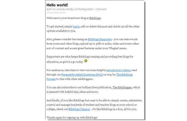Image of Edublogs Hello post
