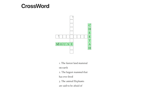 An example of a live crossword