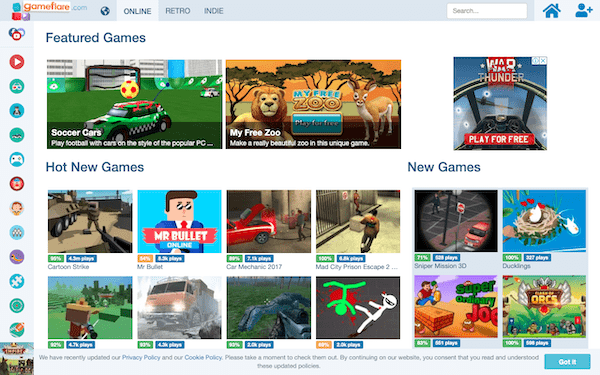 A look at GameFlare a website that allows you to embed online games