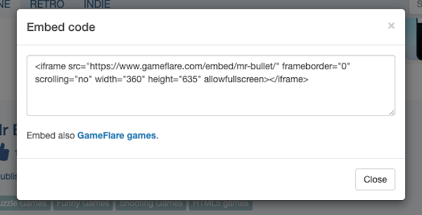 Then simply grab the embed code to feature the game on your website
