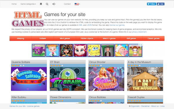Html games is a great option if you're willing to host other people's games