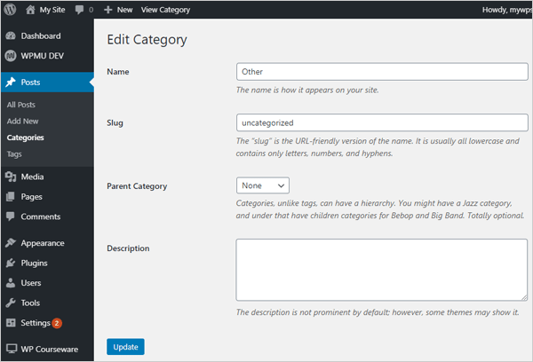 Edit post category screen.