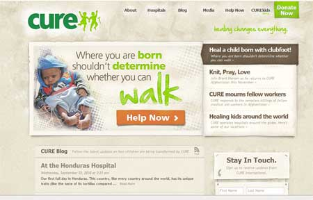 Cure website screenshot
