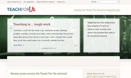 Teach for us nonprofit website screenshot