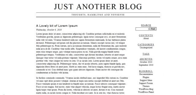 Screenshot of vryplaintxt wordpress theme