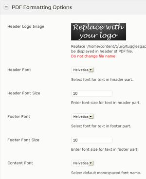 Screenshot of wp-post-to-pdf WordPress plugin settings