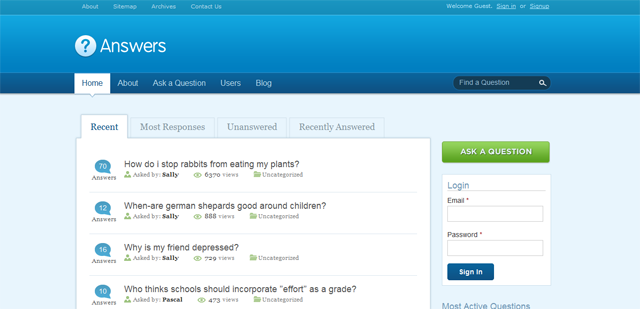 Screenshot of the WordPress Answers Theme