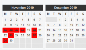 screenshot of availability calendar wordpress plugin