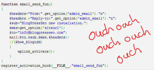 Screenshot of BlogPress SEO code