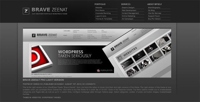 screenshot of brave zeenat wordpress theme