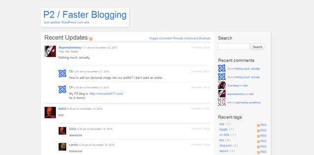 Screenshot of WordPress P2 Theme