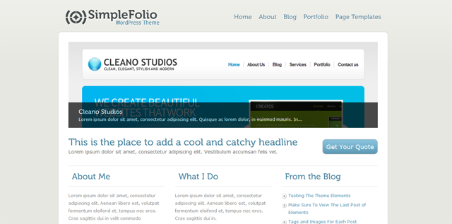screenshort of simplefolio wordpress plugin