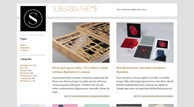 screenshot of suburbia wordpress theme