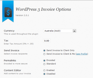 screenshot of WordPress 3 invoice