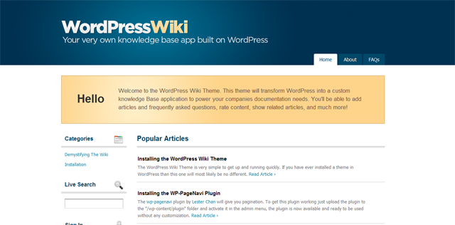 Screenshot of WordPress Wiki Theme
