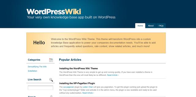 Screenshot of WordPress Wiki Theme