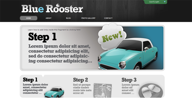 screenshot of blue rooster wordpress theme