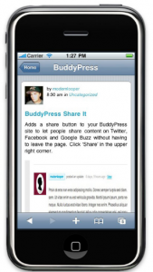 screenshot of buddypress mobile