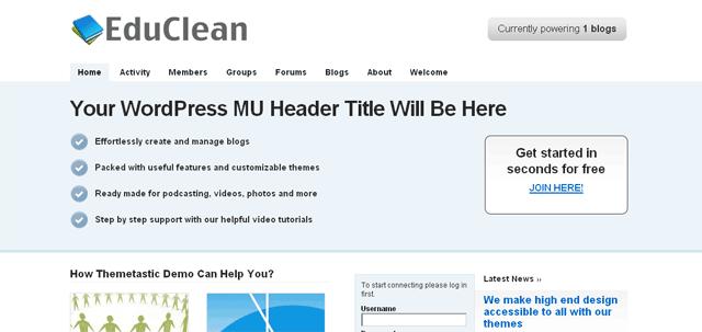 screenshot of edublogs theme