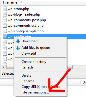screenshot of where to change file permissions in FileZilla