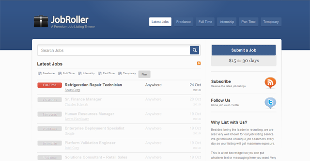Screenshot of JobRoller Premium WordPress Theme
