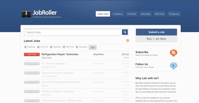 Screenshot of JobRoller Premium WordPress Theme