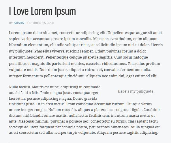 screenshot of pullquote WordPress plugin