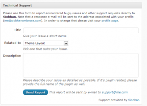 screenshot of WordPress technical support
