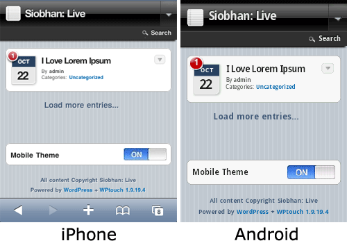 Screenshot of WP installed on Android and iPhone