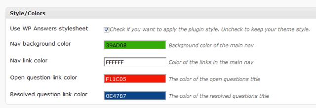screenshot of wp answers css settings