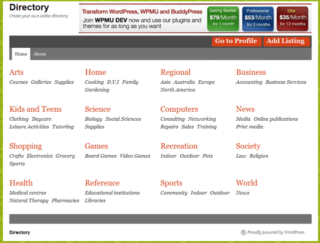 screenshot of wordpress directory