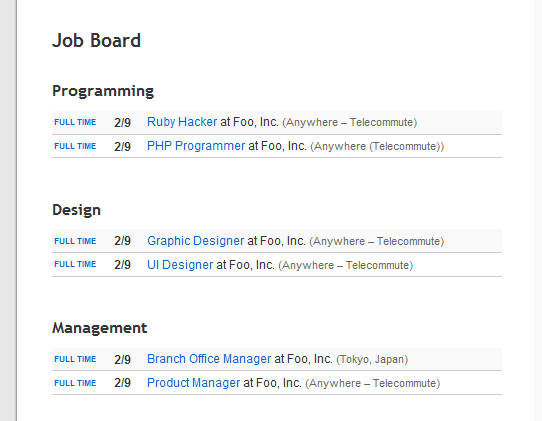 screenshot of jobboard
