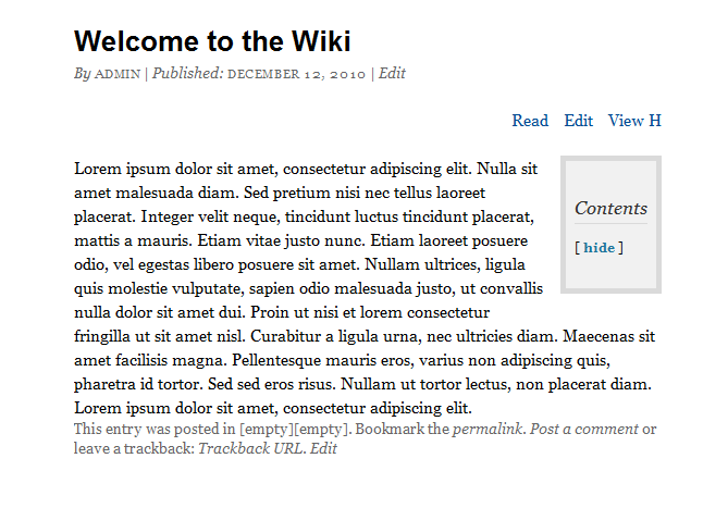 screenshot of wordpress wiki