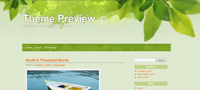 Screenshot of All Green WordPress Theme