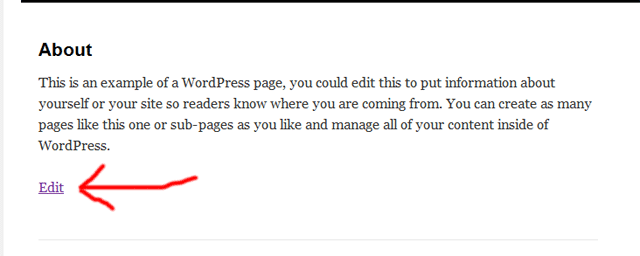 "screenshot of WordPress ""edit"" link"