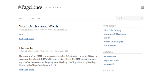 Screenshot of Platform WordPress Theme