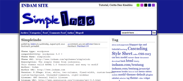 Screenshot of Simple Indo WordPress Theme
