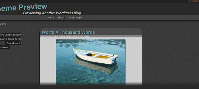 Screenshot of valentine wordpress theme