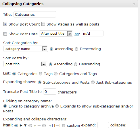 Screenshot of Collapsing categories