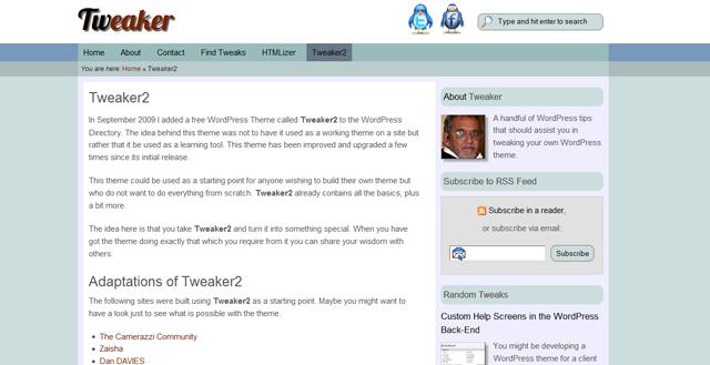 Screenshot of Tweaker WordPress Theme