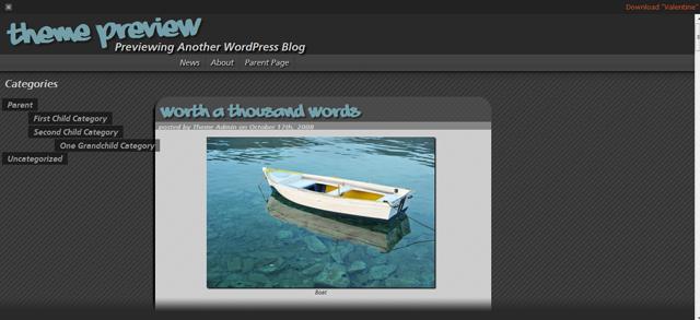 Screenshot of Valentine WordPress Theme