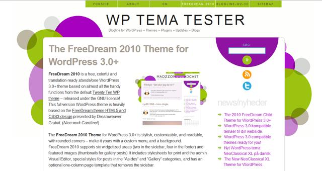 Screenshot of FreeDream2010 WordPress Theme