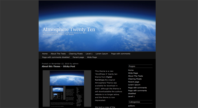 Screenshot of Atmosphere WordPress Theme