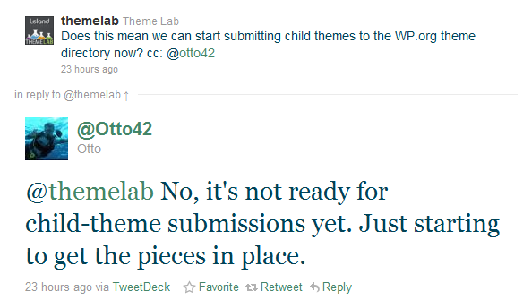 screenshot of twitter exchange about WordPress child themes
