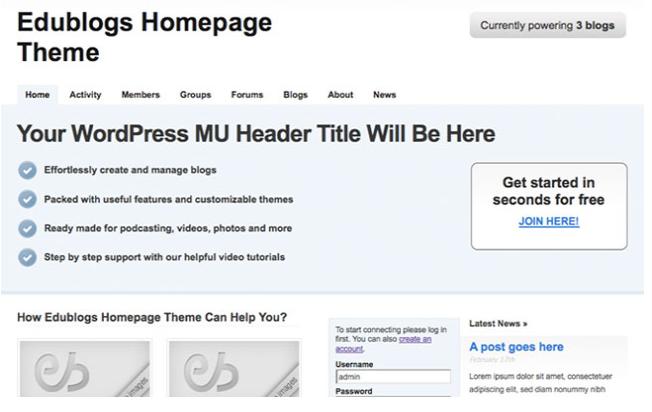 edublogs homepage theme
