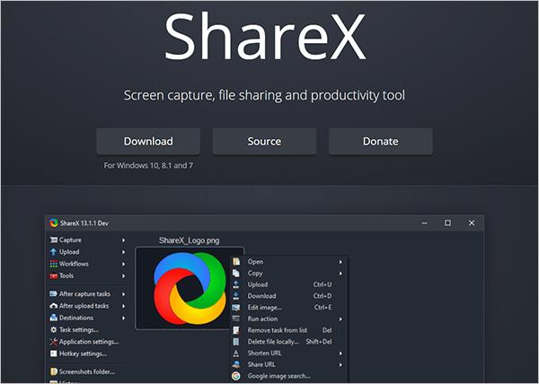 ShareX - screen capture tool.