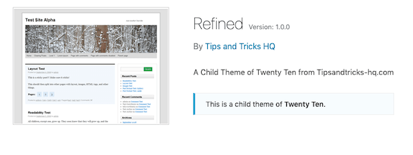 A look at the refined twenty ten child theme
